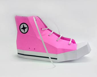 Papercraft,DIY Converse shoe,Boots,3d origami models,digital download,DIY kit,Shoe making,DIY gift,Gifts for her,Pdf templates,Low poly shoe