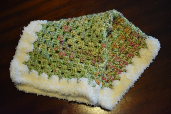 Green & Fuzzy Cat Mat -- Granny Square Pet Blanket featuring Green, Pink, Orange, Purple, and Fuzzy White