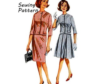 """Butterick 2258 Woman's Darted Box Jacket, Slim Box Pleat Skirt Jackie Kennedy Suit Sewing Pattern Size 12 Bust 32""""/ 81cm Vintage 1960's"""