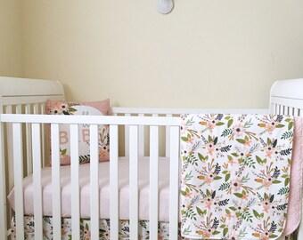 Blush Sprigs and Blooms. Baby Blanket. Girl Crib Bedding. Floral Crib Skirt. Blush Crib Sheet. Ruffle Crib Skirt. Blush Minky Blanket.
