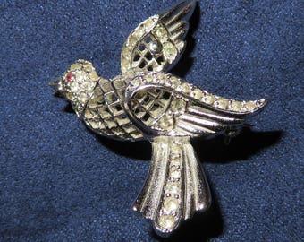 "KEYES BIRD Brooch Silver Tone White and Red Rhinestone Openwork, Vintage, 1.25 x 1.25"" (#771)"