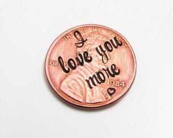 I love You More Penny, Personalized Pocket Token, Hand Stamped Penny Keepsake, Personalized Penny,  Lucky Penny, Pocket Token, Unique Gift