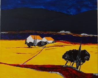 Yellow Field Acrylic Painting