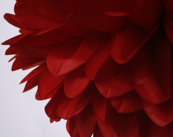 Dark Red 1 Large tissue paper pom poms