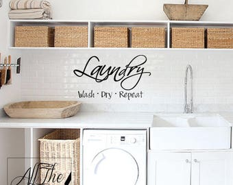 Laundry Wall Decal - Laundry Wall Sticker - Laundry Room Sign