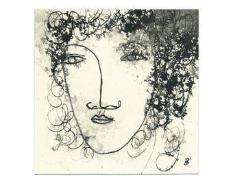 Portrait art 15/15 cm (5.9/5.9 inch)