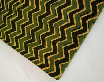 Green & Yellow Zic Zac Stripe Handblock Print Running Fabric by yard