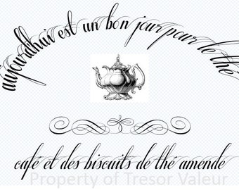 Vintage Chic French Typography Tea Pot  Ephemera,  Downloadable File