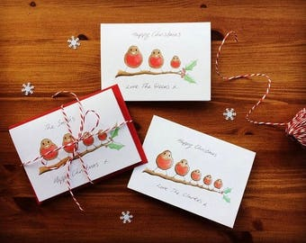 Personalised Christmas cards. Family of Robins. Your personal message hand written on front of card. Send a smile this Christmas!