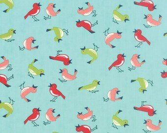 Vintage Picnic Early Bird in Aqua by Bonnie & Camille for Moda Fabrics