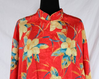 Vintage Red Floral Hibiscus Robe Caftan Lord and Taylor Large Loungewear