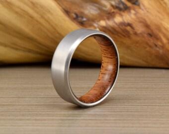 Mens Titanium and Brazilian Cherry Wedding Ring with Beveled Edges