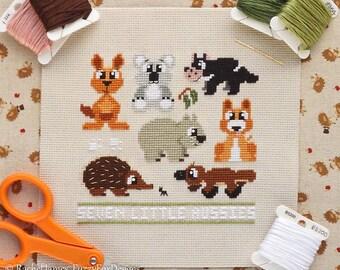 Australian Animals Cross Stitch Pattern PDF | Seven Little Aussies | Instant Download | Kangaroo Koala Devil Echidna Wombat Dingo Platypus