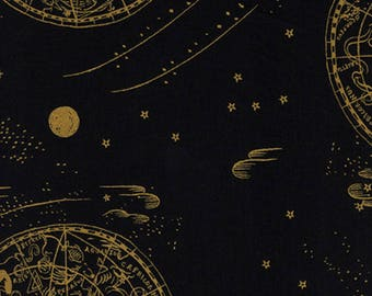 Rifle Paper Celestial Navy Metallic Cotton Lawn Fabric by the Half Yard