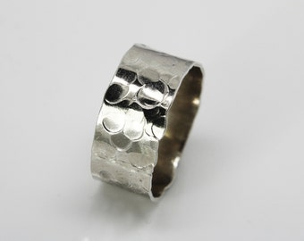 Wide silver band 'Rain' wedding band - hammered silver ring -chunky silver ring -Man's wedding band - Man's silver ring - hand made ring
