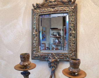 Neoclassical French Mirror Wall Sconce Brass Frame Ocean theme