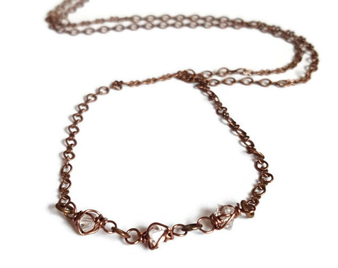 Nightlife Sparkle Herkimer Diamond  Copper Necklace