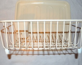 Vintage Rubbermaid Vinyl Coated Metal Dish Drainer Cream Color With Utensil Holder