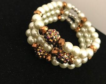 Pearl Bracelet, White Pearl Bracelet, Pearl and Gold Bracelet, Pearl Bracelet, Cheap Bracelet, Cheap Elegant Bracelet, Statement Bracelet
