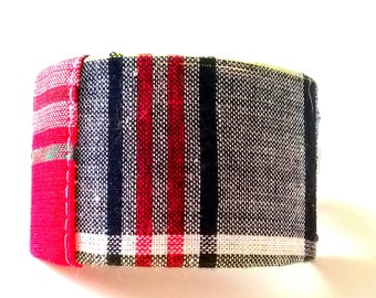 Navy Plaid Ponytail Cuff