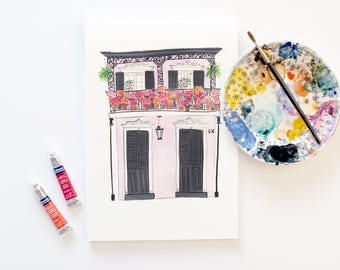 New Orleans House with Flowers  A4 Archival Art Print