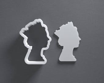 Queen cookie cutter, Queen Elizabeth II, fondant cutter, 3D printed