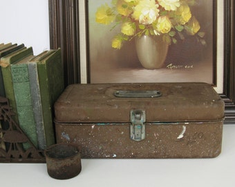 Vintage Tackle Box Rustic Metal Decor Beach Cottage