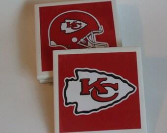 Kansas City Chiefs Coasters - Football Coasters - Chiefs Decor - Bar Decor