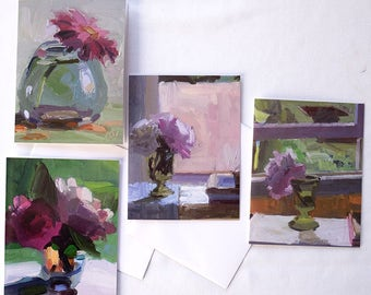 Bouquets in Green, Set of 8 cards and envelopes