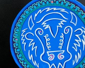 White Buffalo , stylized painting on circle magnet