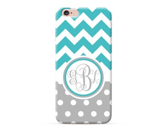 personalized phone case, personalised iPhone 7 plus case, monogrammed iPhone 8 case, monogram iPhone X case iPhone 6s case turquoise chevron