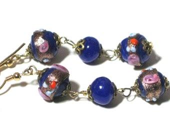 Blue Glass Earrings, Vintage Flower Lampwork, Venetian Glass Beads