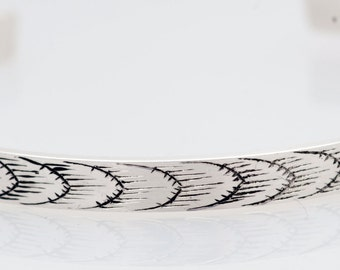 Running Wheat Sterling Silver Bangle Bracelet, Hand Engraved, Hand Made