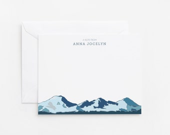 Personalized Flat Card Set of 12 | Custom Stationery Cards with Cascades Mountain Illustration