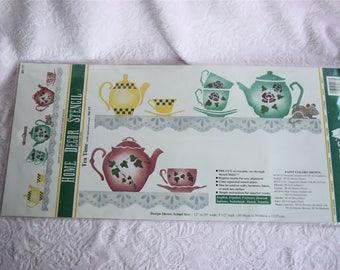 Vintage TEA TIME STENCIL Teapot Teacup Cup Saucer Pot Ivy Lace Edging Doily Eyelet Mylar Plastic 1996 Ease Nip Nos Wall Paint Kitchen Decor