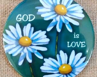 "GOD is LOVE: Big 3.5"" Fridge Magnet, Original Art, Daisies, Flowers, Religious, Art, Daisy Flowers"