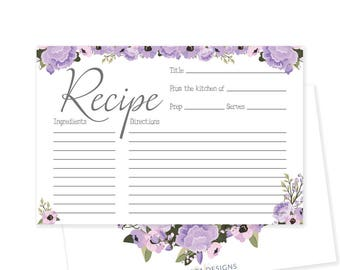 rustic bridal shower recipe card printable recipe card floral bridal shower decorations bridal recipe cards haley collection