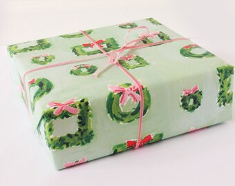 Christmas Wrapping Paper: Wreaths in Mint