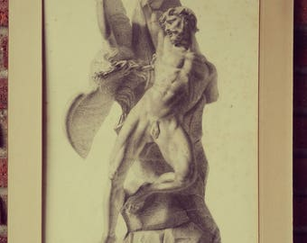 Drawing classical sculpture. Charcoal-painted. Nineteenth century