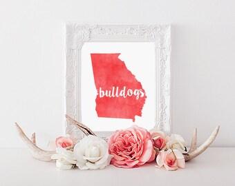 University of Georgia Bulldogs Watercolor State Printable (8x10 & 5x7)