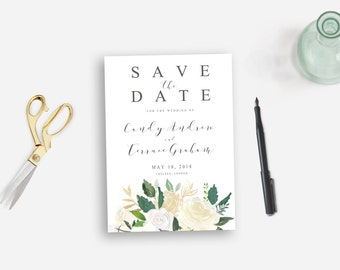 Save the date printable, white flowers Save the date postcard watercolor, Floral watercolor grey DIY save the date, The Asli collection