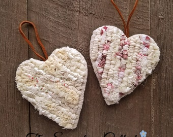 A Piece of My Heart - Home Decor Accents - White Hearts - Locker Hooking - Fabric Heart Ornament