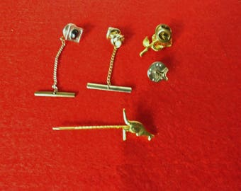 5 ASSORTED TIE TACKS