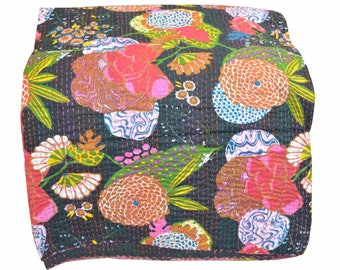 Indian handmade Kantha quilt  bedspread bedsheet bedcover quilt Kantha quilt coverlet vintage handmade Queen size Floral Print quilt