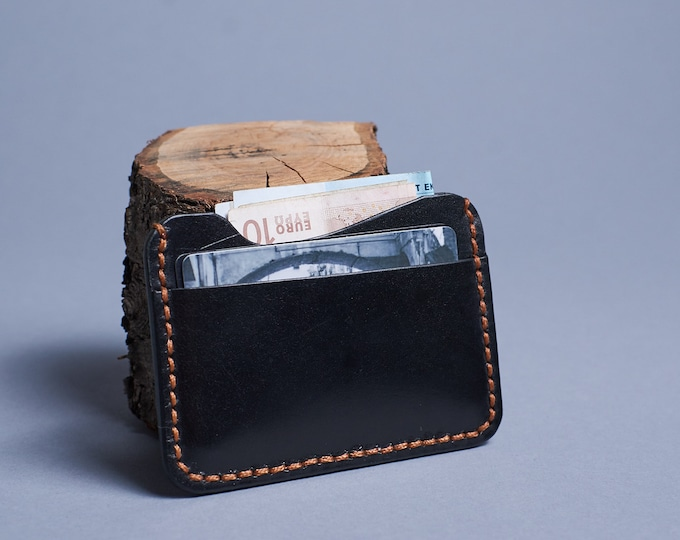 Black leather mini wallet. Two slot leather credit card holder. Minimalist wallet.