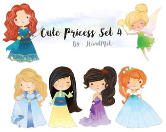 Cute princess clipart set 4 : Instant Download PNG file - 300 dpi