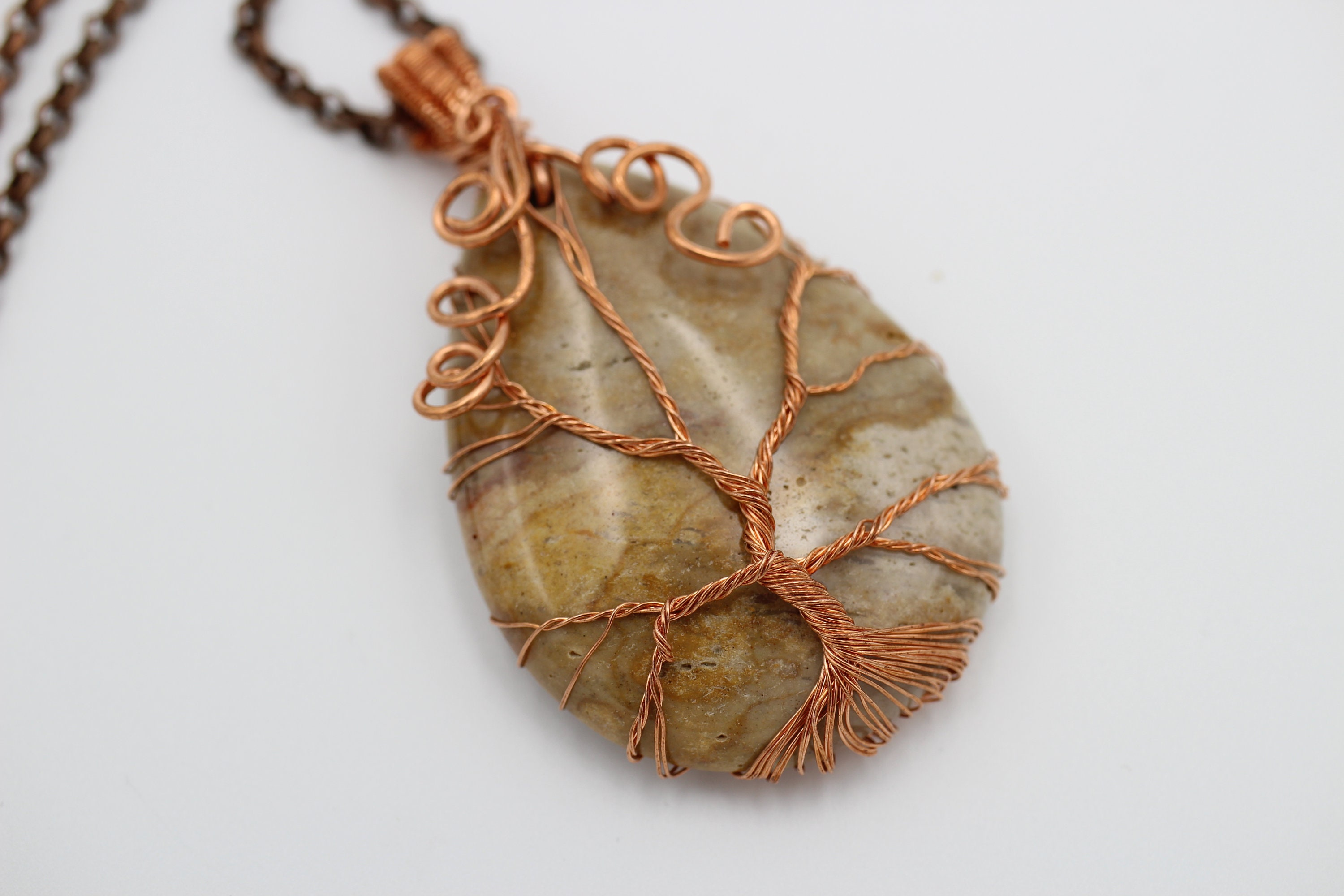 stone pin copper creations flattened bead my wire pendant and