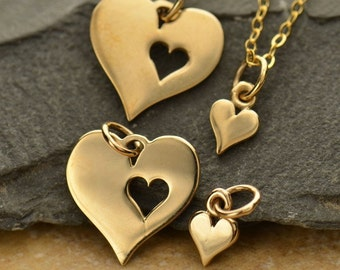 Mother Daughter Heart Cutout Necklace - Natural Bronze Charms - Insurance Included