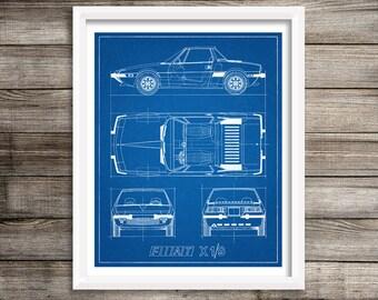 """Fiat X19 Blueprint, Fiat Decor, Car Blueprint, Instant Download, Fiat X19, Blue prints, Blueprint Art, Fiat, Blueprint Decor, 8x10"""", 11x14"""""""