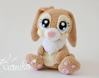 Crochet PATTERN No 1730 Miss Bunny crochet pattern by Krawka, cute girly bunny rabbit crochet animal